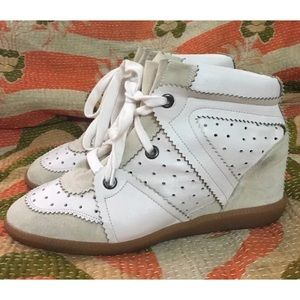 Isabel Marant Leather Hidden Wedge Bobby Sneakers
